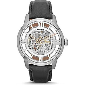 Fossil Men's ME3041 Townsman Automatic Stainless Steel Skeleton Watch With Black Leather Band