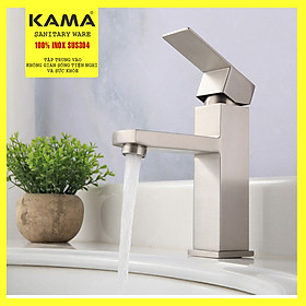Vòi lavabo vuông nóng lạnh inox 304 KAMA VC05 - thân cao 20 cm, cân nặng 750gr, tặng kèm bộ dây cấp nước nóng lạnh 60 cm, vòi chậu rửa mặt nóng lạnh phù hợp với mọi lavabo