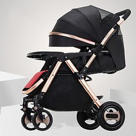Xe đẩy trẻ em 2 chiều 3 tư thế, xe đẩy du lịch, xe đẩy gấp gọn (đen)