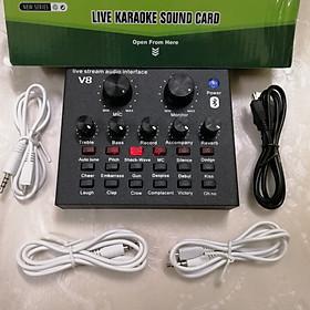 Sound card live stream V8 kết nối Bluetooth phiên bản mới