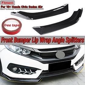 Carbon Fiber Look Front Bumper Lip Body Kit For Honda Civic 2016-2018