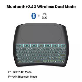 Bàn phím không dây 2.4G + Bluetooth D8 mini có đèn Led tích hợp bàn di chuột