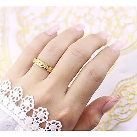 Nhẫn đôi phun cát mạ lớp vàng 24k sang trọng
