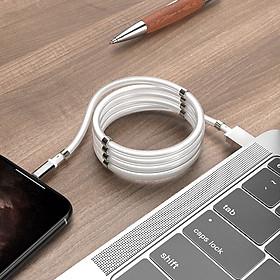 Cáp Sạc Nhanh Lightning Hoco U91 Hỗ Trợ Sạc Nhanh 2.4A, Dây Sạc Nam Châm Tự Hít Gọn Gàng Dài 100cm dành cho iPhone X/ XS max/iPhone 11/iPhone 11 Pro max/iPhone 12/12Pro Max - Hàng chính hãng