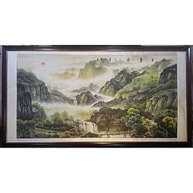 Tranh giấy dó vẽ mực nước đen trắng  thuỷ mạc ,sơn thuỷ -TM43