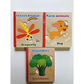 Combo 3 cuốn sách  ghép hình bằng gỗ - đồ chơi trí tuệ cho bé Mk