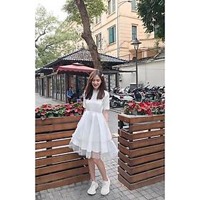 Váy trắng công chúa tay lỡ siêu xinh - đầm dự tiệc sinh nhật thời trang nữ thiết kế