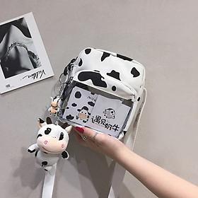 Túi đeo chéo mini con bò sữa có ngăn trong suốt không kèm móc khóa