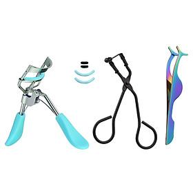 3PCS Mini Eyelash Curler Kit Partial Eyelash Curler Eyelash Extension Tweezers Eyelash Curler with Silicone Replacement