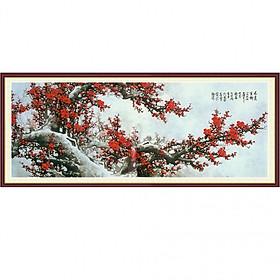 Tranh dán tường 3D vải lụa hình hoa đào đỏ sơn thủy hữu tình