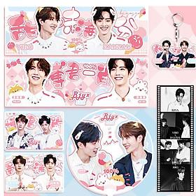 Combo 5 món Bác Quân Nhất Tiêu Vương Nhất Bác Tiêu Chiến quạt banner móc khóa postcard lomo
