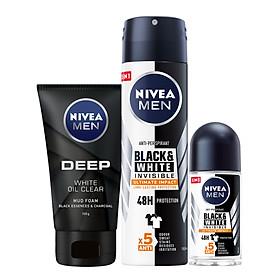 Bộ 3 Xịt và Lăn Ngăn Mùi NIVEA MEN Black & White Ngăn Vệt Ố Vàng Vượt Trội 5in1 ( Xịt ngăn mùi 150ml - 85388 và Lăn ngăn mùi 50ml - 85392) & Sữa Rửa Mặt NIVEA MEN DEEP Than Đen Hoạt Tính Hút Nhờn Sáng Da (100G) - 84415