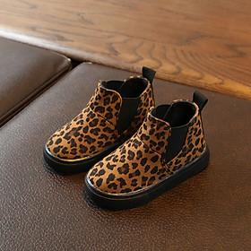 New Kids Boots Fashion Winter Boys Girls Snow Boots Children Martin Boots Baby Cute Leopard Pattern Anti-slip Walking Shoes