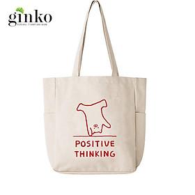 Túi Vải Tote Ginko Unisex Phong Cách Hàn Quốc In Hình POSITIVE THINKING K04
