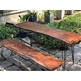 Bộ 1 bàn 1 ghế dài 1m49-1m60 gỗ xà cừ tự nhiên nguyên tấm