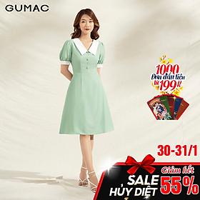 Đầm nữ dáng xòe DA1108 GUMAC thiết kế phối lá cổ trắng