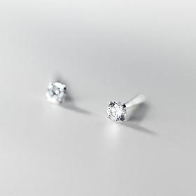 Khuyên tai bông tai nữ bạc s925 nhỏ xỏ mini đầu tròn đính đá pha lê lấp lánh nhiều màu