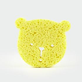 Miếng tắm bọt biển Cellulose tự nhiên Mamamy, tẩy da chết, an toàn cho trẻ sơ sinh (hình gấu vàng)