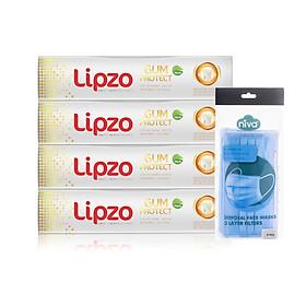 Combo 4 Kem Đánh Răng Lipzo Gum Protect 95g [TẶNG] 10 Chiếc Khẩu Trang Y Tế