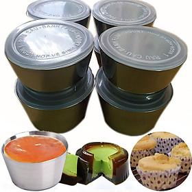 Bộ 10 Khuôn Làm Bánh Inox 304 Có Nắp ( 7cm ) Làm Bánh Flan , Rau Câu , Cupcake, Làm Đá Không Gỉ