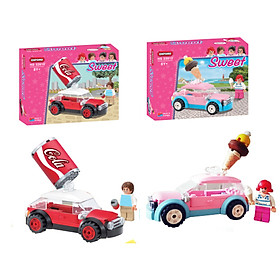Combo 2 bộ đồ chơi lắp ráp - Chính hãng Hàn Quốc - Xe Cola Oxford HS33910 & Xe Kem HS33912 - Dành cho bé từ 8 tuổi trở lên
