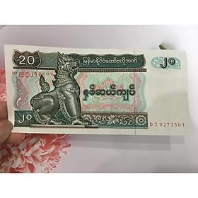 Tiền 20 Kyats của Myanmar , tặng phơi nylon bảo quản tiền