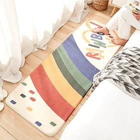 Thảm trải sàn phòng ngủ vải lông cừu siêu mềm, êm chân (trang trí phòng khách) màu kem KT 40x120cm