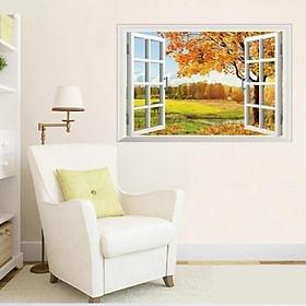 Decal dán tường cửa sổ 3d- Cây Lá Mùa Thu