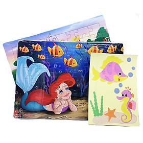 Combo 2 tranh xếp hình: 3 nàng công chúa cổ tích và nàng tiên cá, tặng kèm tranh cát cá ngựa. Đồ chơi ghép hình trí tuệ cho bé. Tia Sáng VN. Chứng nhận hợp quy: Xếp hình lên đến 250 mảnh.
