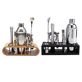 2 Set Stainless Steel Bartender Kit Set Drink Shaker Bar with Bamboo Holder