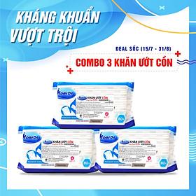 Combo 3 Gói  Khăn ướt kháng khuẩn có cồn cao cấp iHomeda ( 80 Miếng/ Gói) - Combo 3 of iHomeda premium anti-bacteria alcohol wipes ( 80 sheets per packpage)