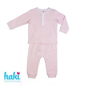 Bộ quần áo dài tay cổ trụ Melange Cotton cao cấp cho bé Haki BC002