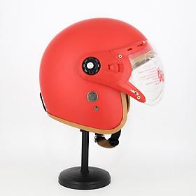Mũ Bảo Hiểm Có Kính 3/4 Đầu 368k Lót Màu Cao Cấp – Màu Đỏ Lót Nâu Kính Trong _ Chống bụi, chống nắng đi được cả ban đêm
