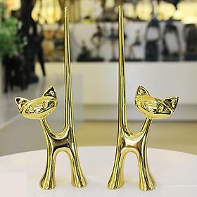 Tượng đôi mèo ánh vàng