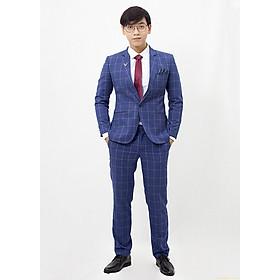 Suit xanh dương caro