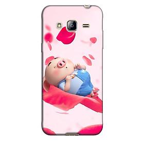 Ốp lưng nhựa cứng nhám dành cho Samsung Galaxy J3 2016 in hình Heo cánh hồng