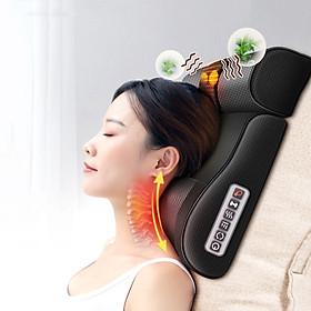 Gối Massage Hồng Ngoại Cao Cấp Thế Hệ Mới, Mát Xa Đa Chức Năng Như Cổ, Lương, Eo, Đùi, Chân, Chuờm Nóng Băng Ngọc Bích - Hàng Chính Hãng