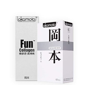 Bội Đôi Gel Bôi Trơn Tăng Độ Ẩm Okamoto Lubcicant Fun Collagen Và Bao Cao Su Siêu Mỏng, Tăng Cảm Giác Thật Okamoto Skinless Skin Purity