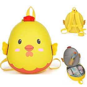 Balo mầm non hình trứng gà, chất liệu nhựa và vải, cho bé từ 3-7 tuổi.