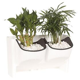 Stackable 2-Pocket Vertical Wall Planter Self Watering Hanging Garden Flower Pot Planter for Indoor/Outdoor