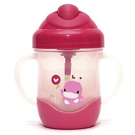 Bình uống nước ống hút có tay cầm 200ml màu hồng - KU5452H
