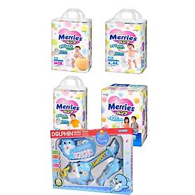 Combo 2 tã quần Merries size M58/L44/XL38/XXL26 tặng đồ chơi âm nhạc và đồ chơi Toys House
