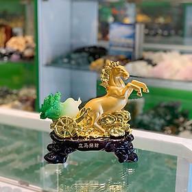 Thần ngựa vàng kéo xe vàng bắp ngọc xanh cưỡi mây vàng- Mã Thượng Phát Tài FLN131