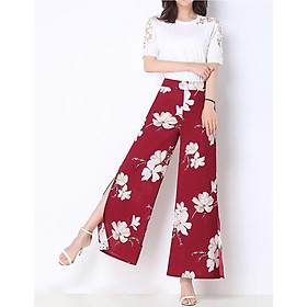 Loose fashion print split straight waist wide-leg pants