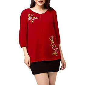 Áo Kiểu Nữ Thêu Hoa Màu Đỏ 769 An Thủy - Đỏ
