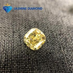Kim cương nhân tạo Mỹ Moissanite giác cắt Cushion vàng vivid