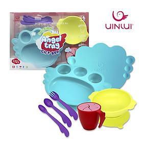 Set đồ khay bát ăn dặm 10 món - Dụng cụ ăn dặm cho bé Uinlui ăn toàn làm từ dừa