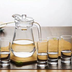 Bộ bình nước thủy tinh trơn chịu nhiệt 5 món