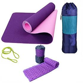 Thảm Tập Yoga + Khăn Trải Thảm Tập Yoga Phủ Hạt Silicon + Dây Buộc Thảm Tập Yoga + Túi Đựng (màu ngẫu nhiên)
