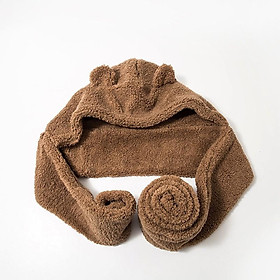 Mũ Len Lông cừu Tai Gấu Chụp đầu Giữ ấm Mùa Đông Dễ thương Ulzzang Hàn Quốc Mũ Tai gấu Chụp đầu Choàng cổ